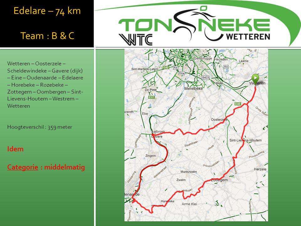 WTC Wetthra Edelare – 74 km Team : B & C Idem Categorie : middelmatig