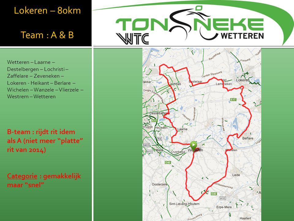 WTC Wetthra Lokeren – 80km Team : A & B
