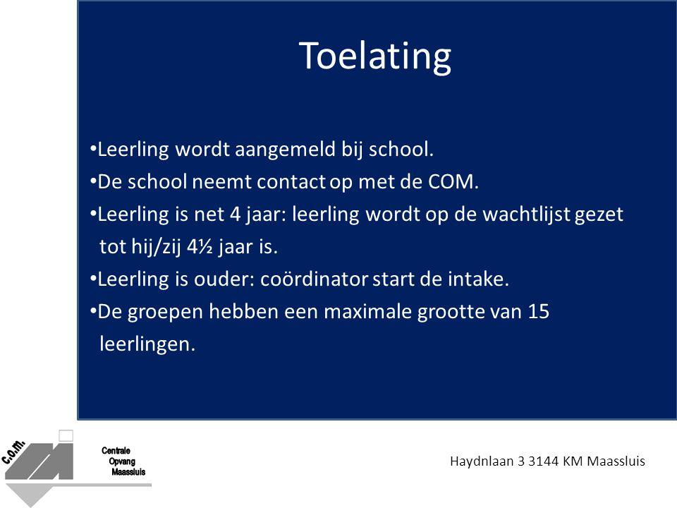 Toelating Leerling wordt aangemeld bij school.