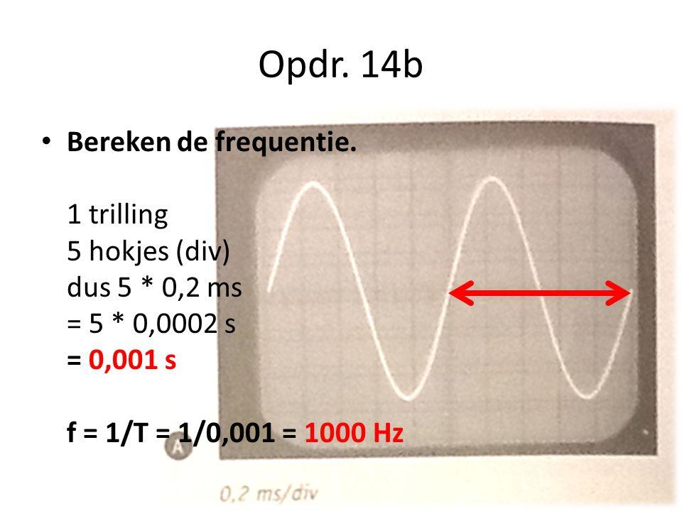 Opdr. 14b Bereken de frequentie.