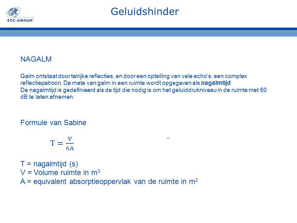 Geluidshinder NAGALM Formule van Sabine T= V 6A T = nagalmtijd (s)