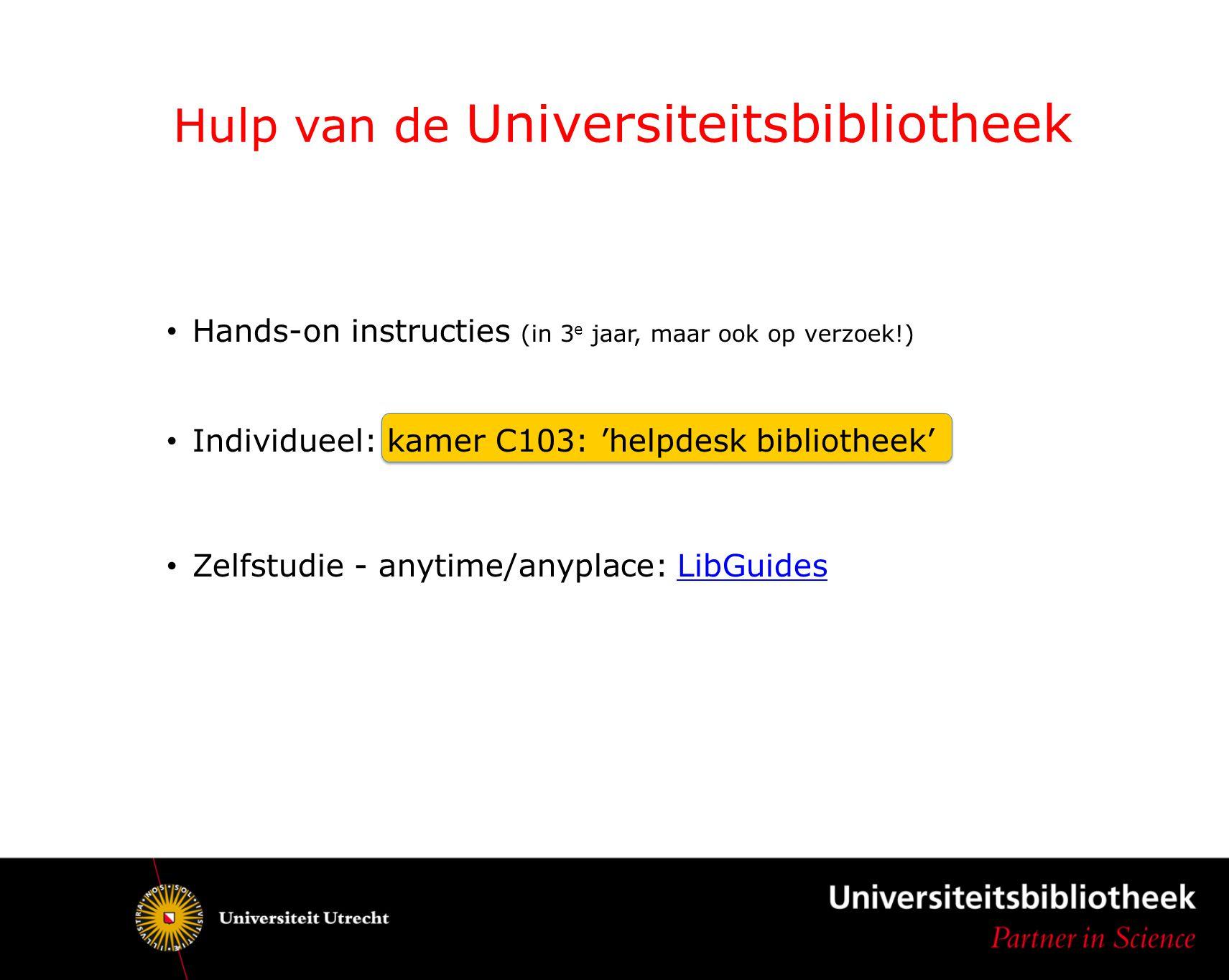 Hulp van de Universiteitsbibliotheek