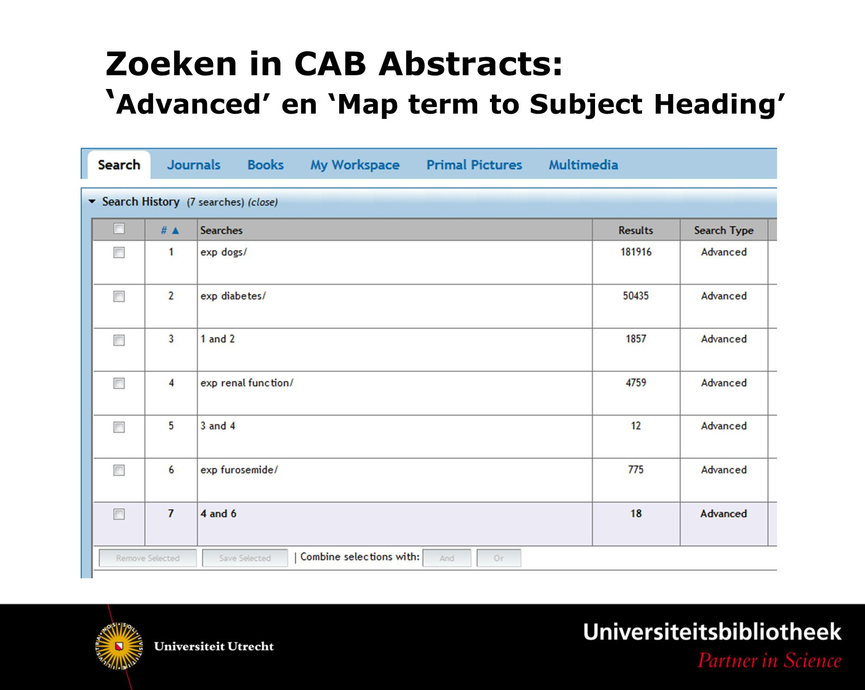 Zoeken in CAB Abstracts: 'Advanced' en 'Map term to Subject Heading'