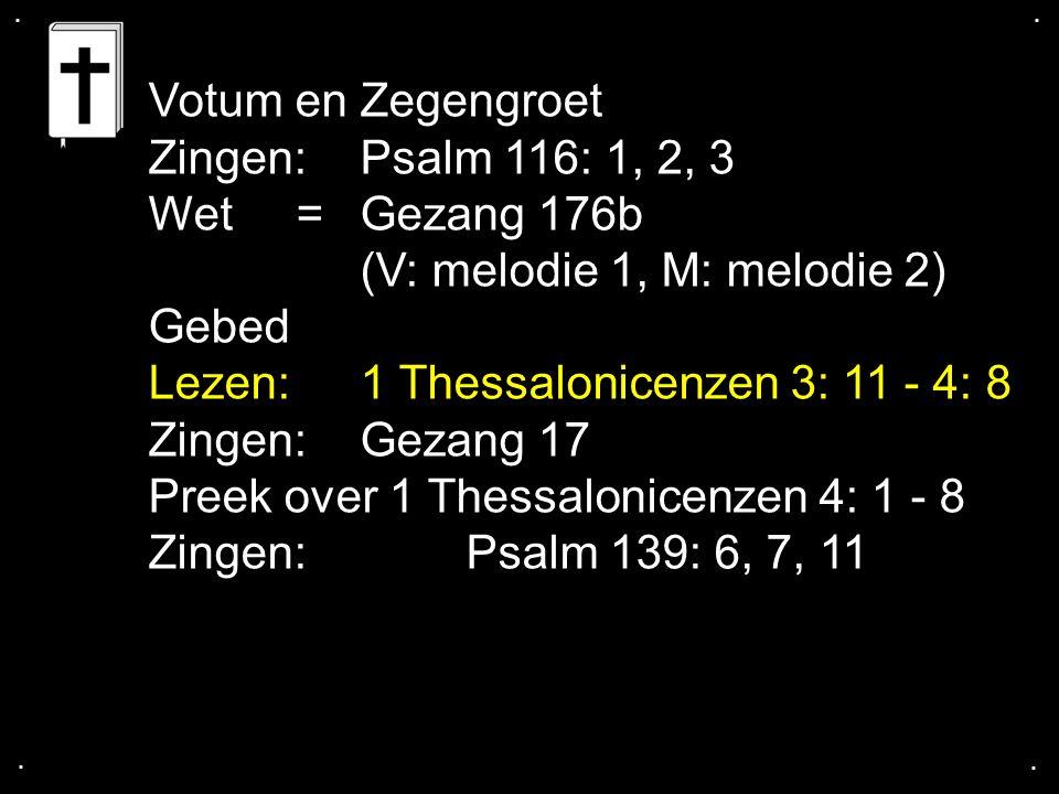(V: melodie 1, M: melodie 2) Gebed