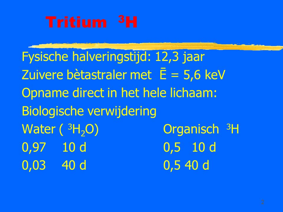 Tritium 3H Fysische halveringstijd: 12,3 jaar