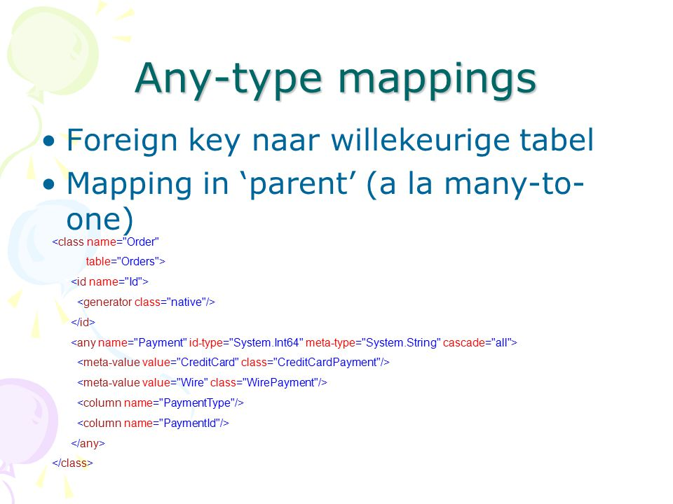 Any-type mappings Foreign key naar willekeurige tabel
