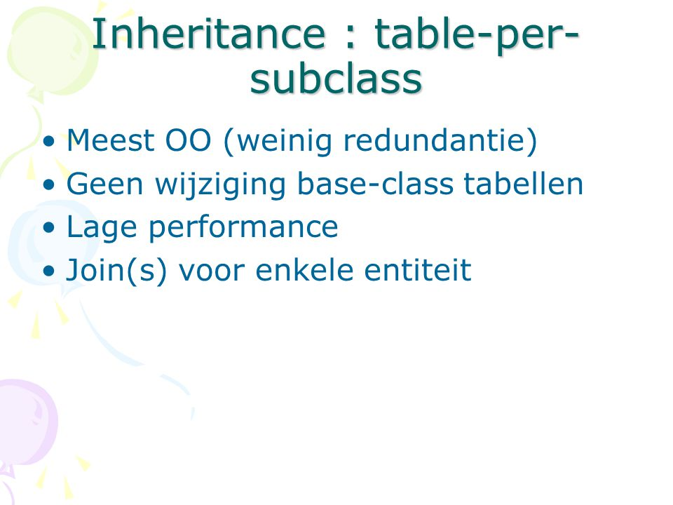 Inheritance : table-per-subclass