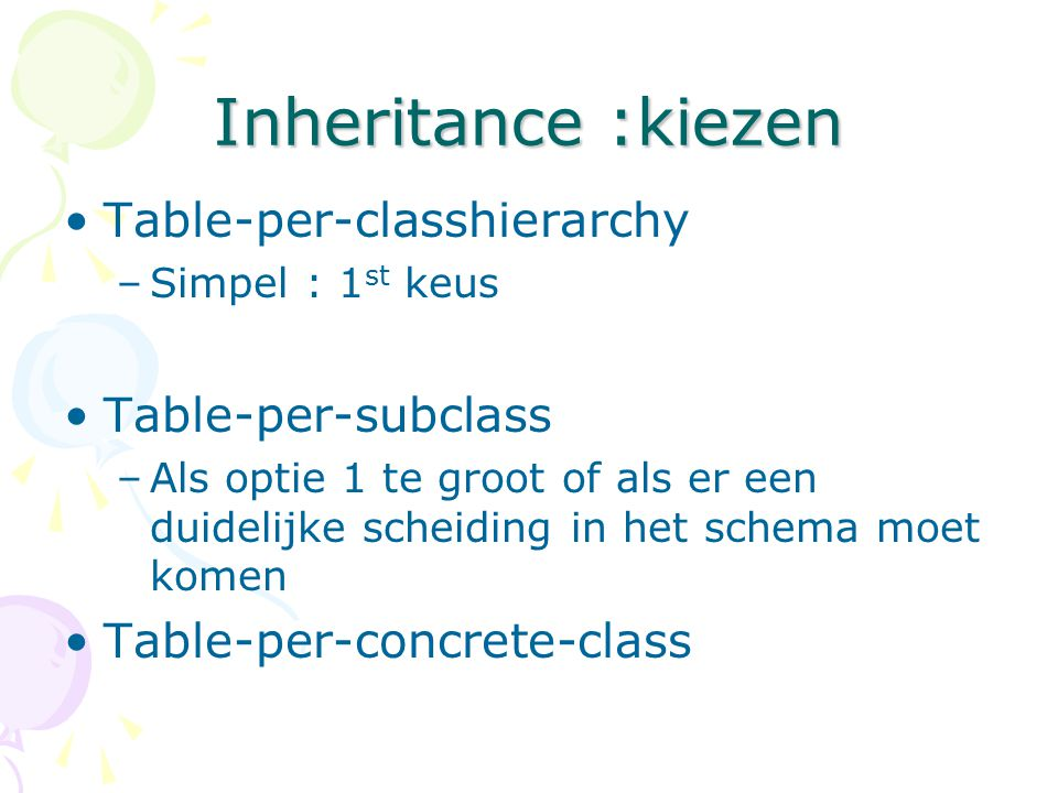 Inheritance :kiezen Table-per-classhierarchy Table-per-subclass