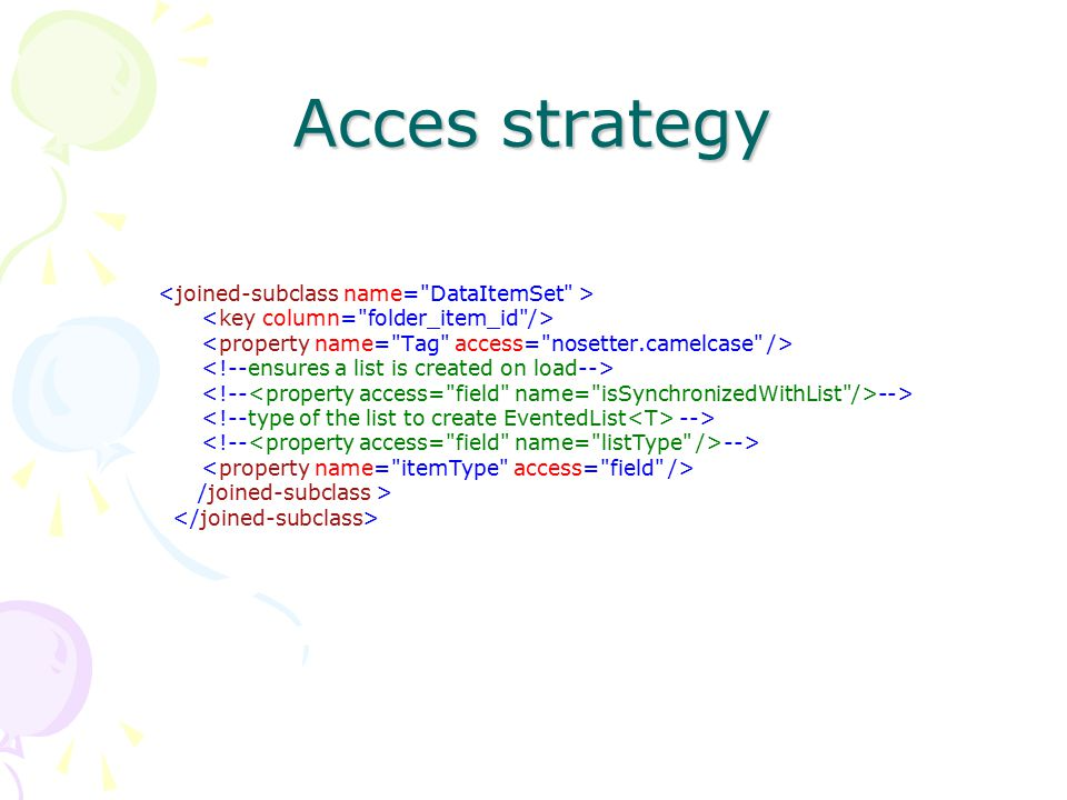 Acces strategy <joined-subclass name= DataItemSet >