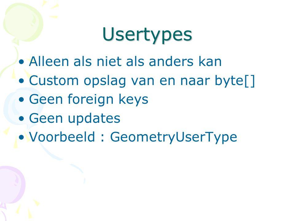 Usertypes Alleen als niet als anders kan