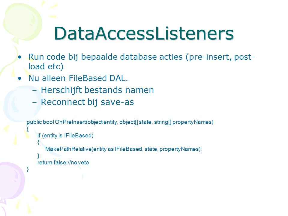 DataAccessListeners Herschijft bestands namen Reconnect bij save-as