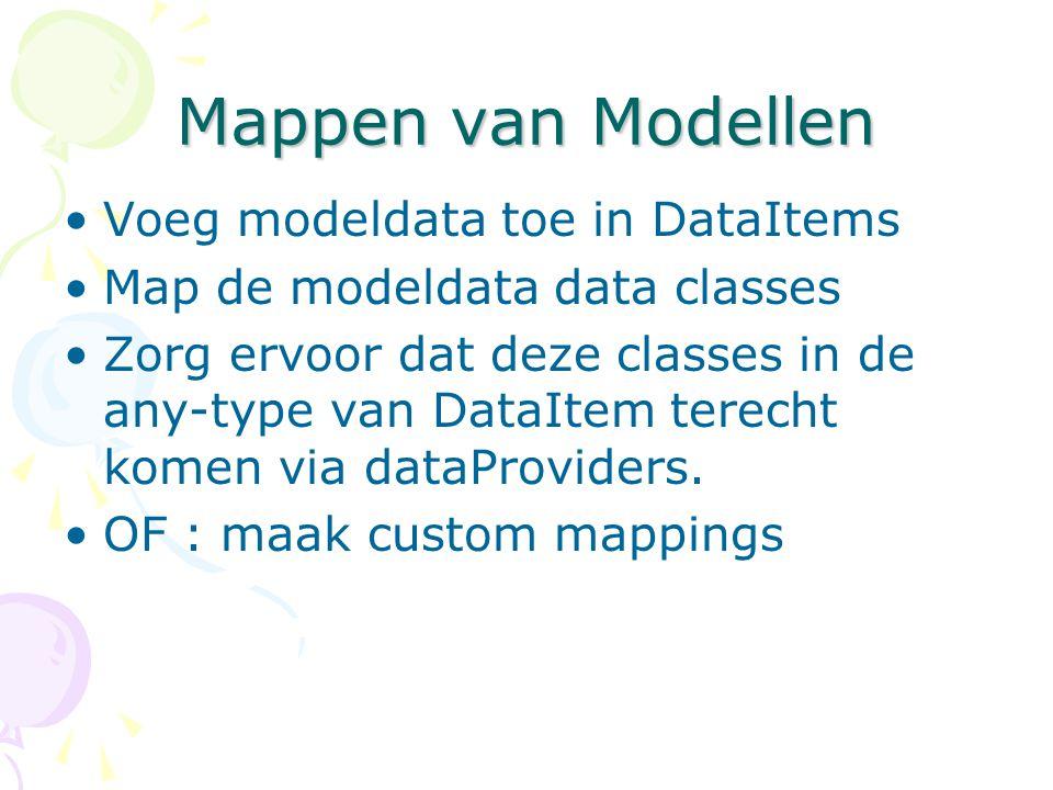 Mappen van Modellen Voeg modeldata toe in DataItems