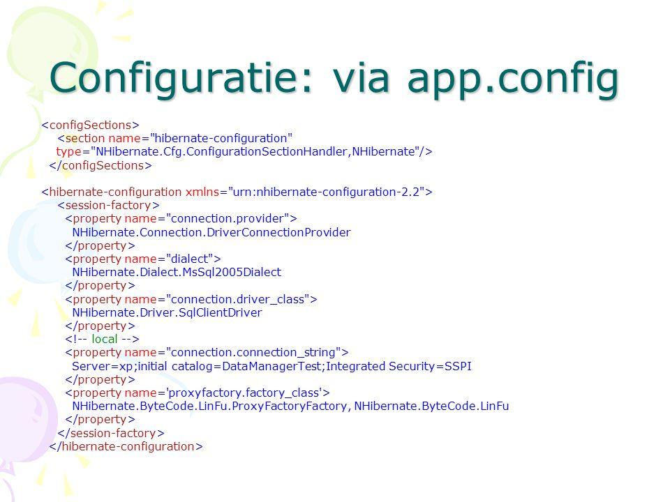 Configuratie: via app.config