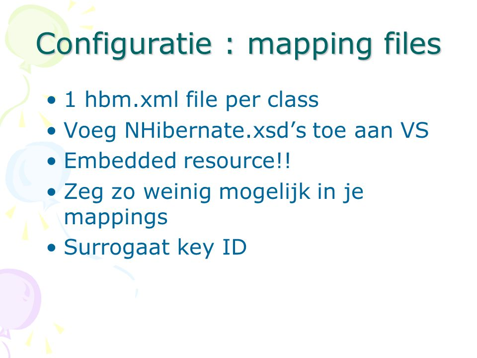 Configuratie : mapping files