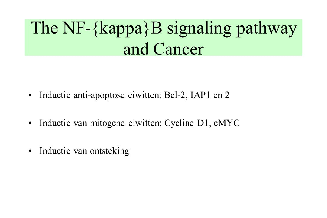 The NF-{kappa}B signaling pathway and Cancer