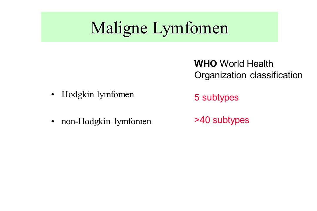 Maligne Lymfomen WHO World Health Organization classification