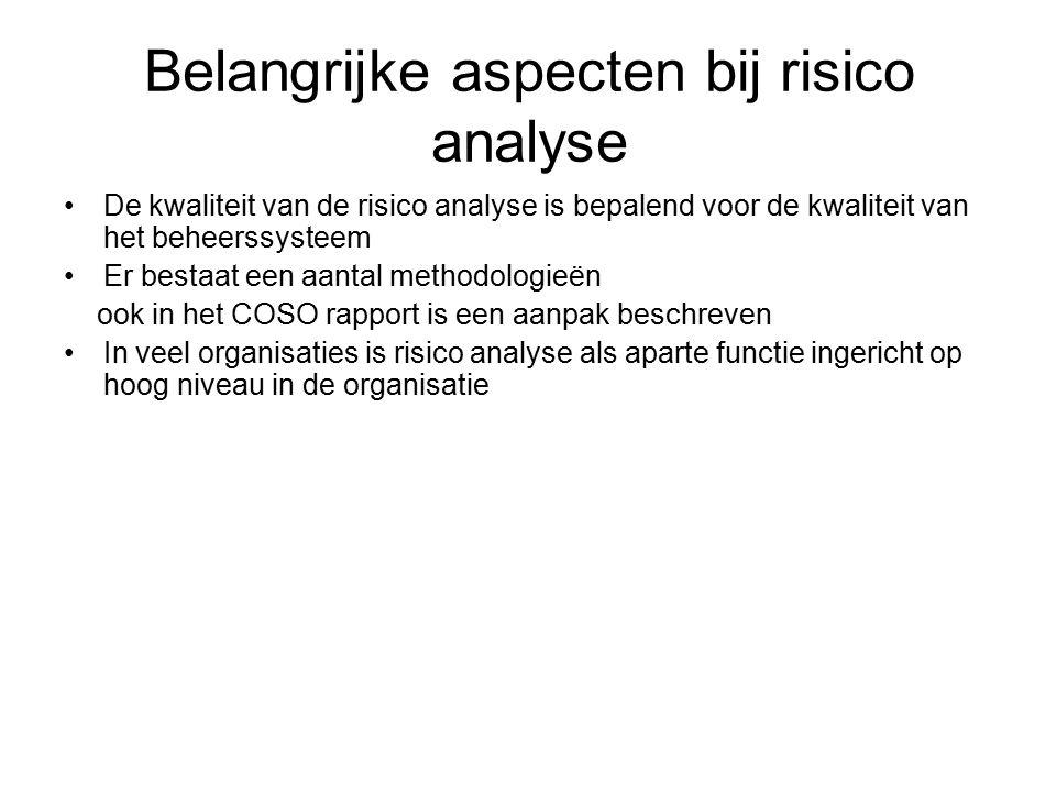 Belangrijke aspecten bij risico analyse
