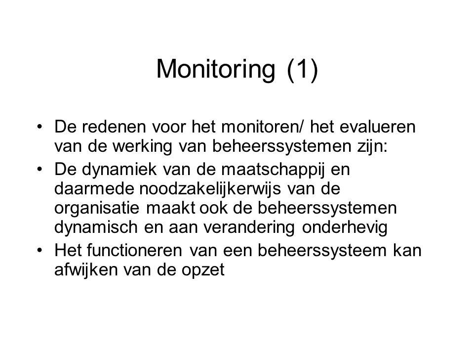Monitoring (1) De redenen voor het monitoren/ het evalueren van de werking van beheerssystemen zijn: