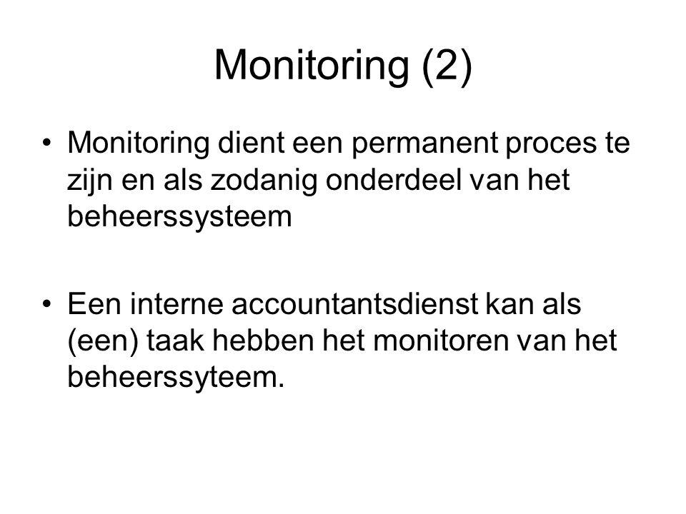 Monitoring (2) Monitoring dient een permanent proces te zijn en als zodanig onderdeel van het beheerssysteem.