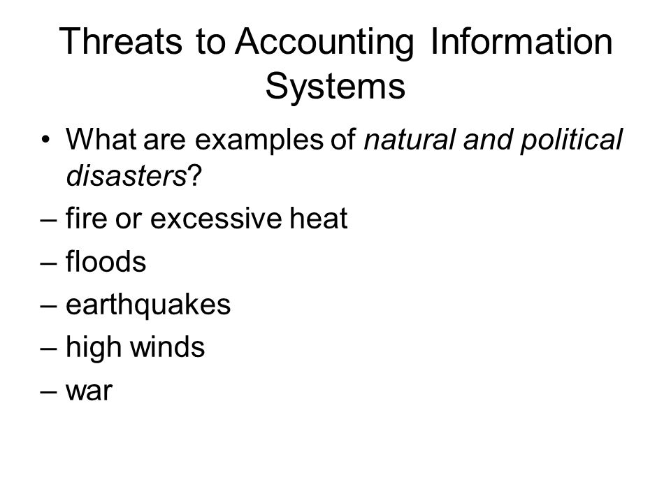 Threats to Accounting Information Systems