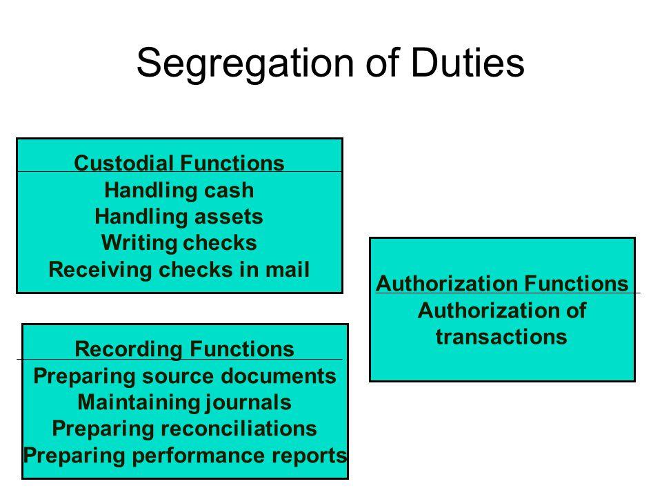 Segregation of Duties Custodial Functions Handling cash