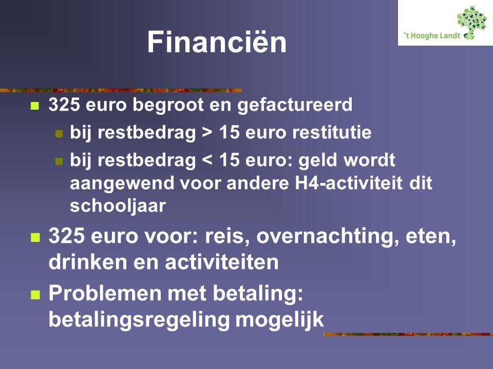 Financiën 325 euro begroot en gefactureerd. bij restbedrag > 15 euro restitutie.