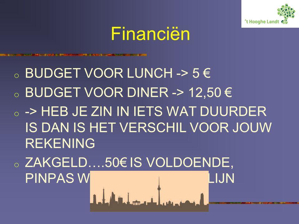 Financiën BUDGET VOOR LUNCH -> 5 € BUDGET VOOR DINER -> 12,50 €