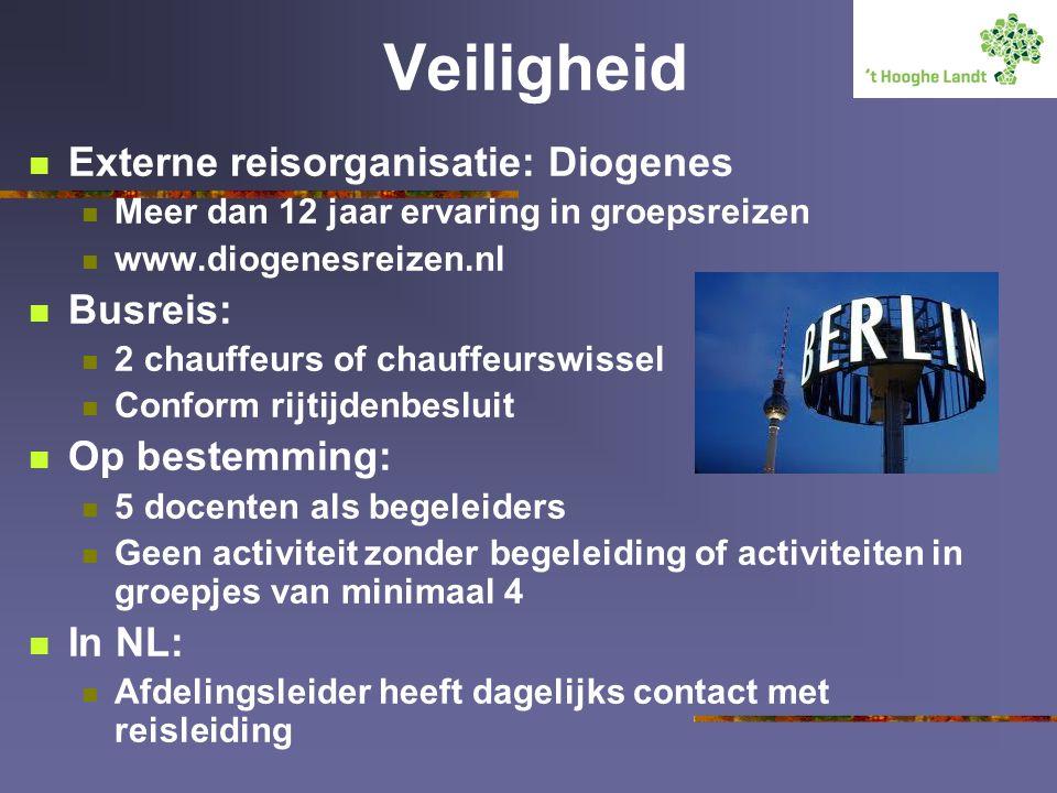 Veiligheid Externe reisorganisatie: Diogenes Busreis: Op bestemming:
