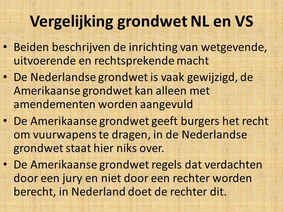 Vergelijking grondwet NL en VS
