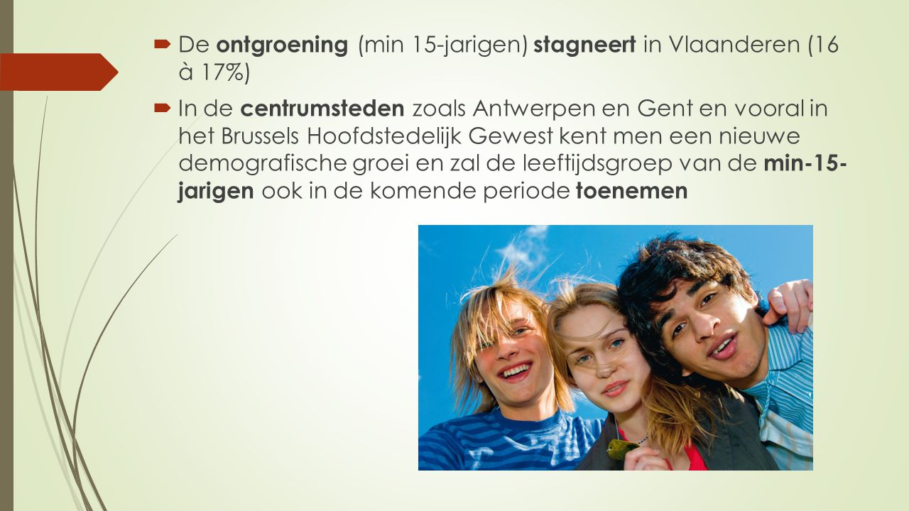 De ontgroening (min 15-jarigen) stagneert in Vlaanderen (16 à 17%)
