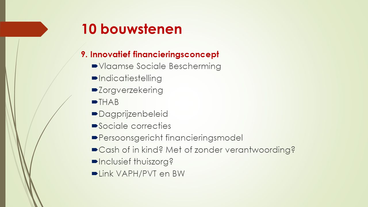 10 bouwstenen 9. Innovatief financieringsconcept
