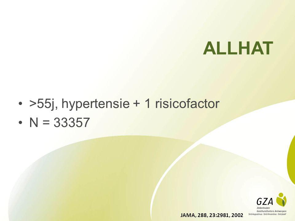 ALLHAT >55j, hypertensie + 1 risicofactor N = 33357