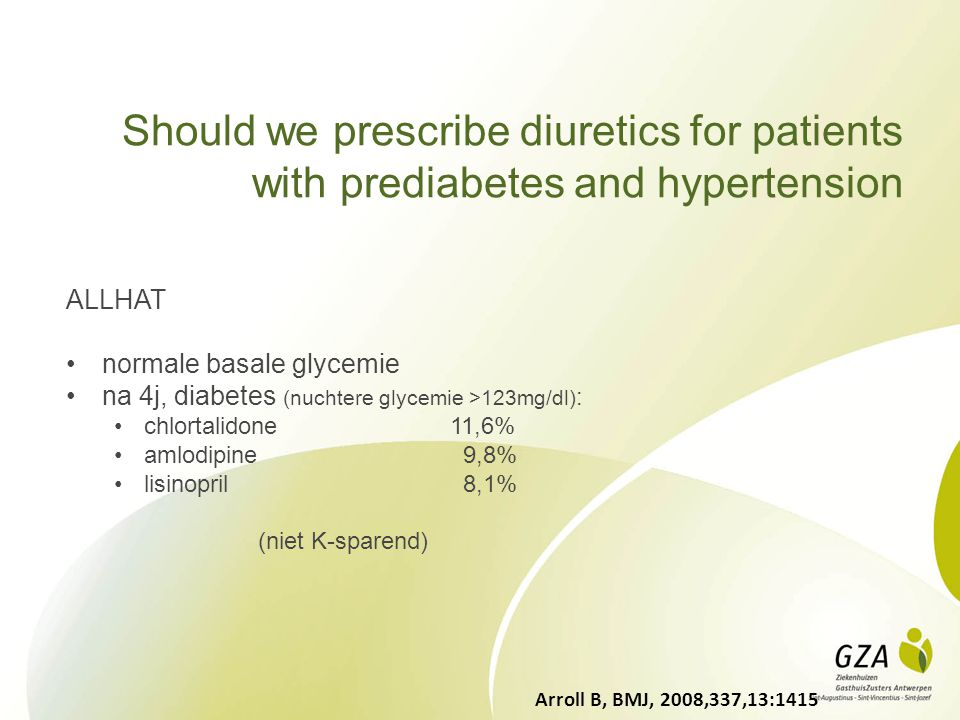 Should we prescribe diuretics for patients with prediabetes and hypertension