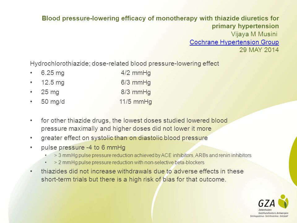 Hydrochlorothiazide; dose-related blood pressure-lowering effect