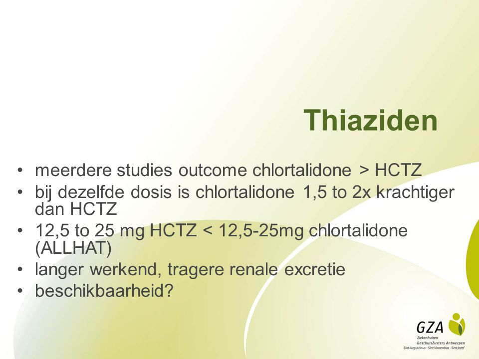 Thiaziden meerdere studies outcome chlortalidone > HCTZ