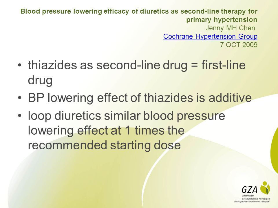 thiazides as second-line drug = first-line drug