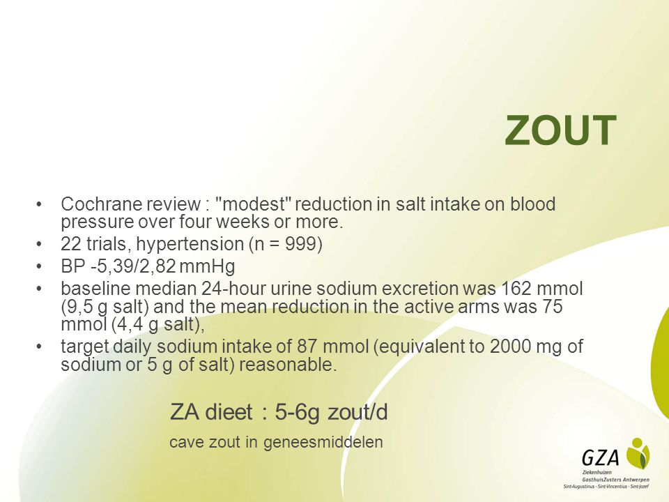 ZOUT cave zout in geneesmiddelen
