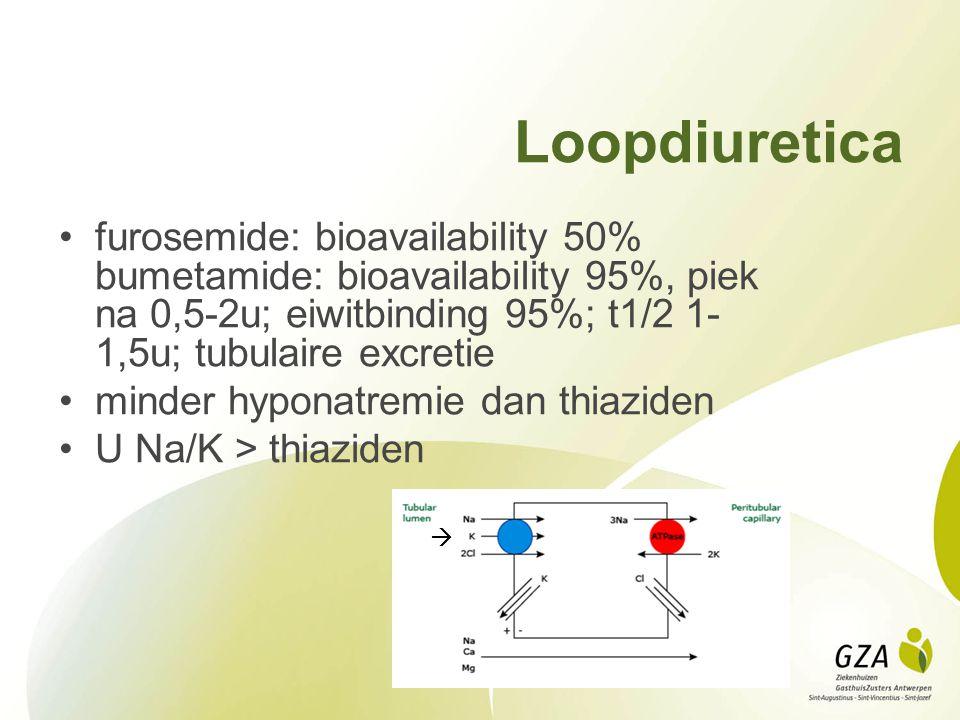 Loopdiuretica furosemide: bioavailability 50% bumetamide: bioavailability 95%, piek na 0,5-2u; eiwitbinding 95%; t1/2 1-1,5u; tubulaire excretie.