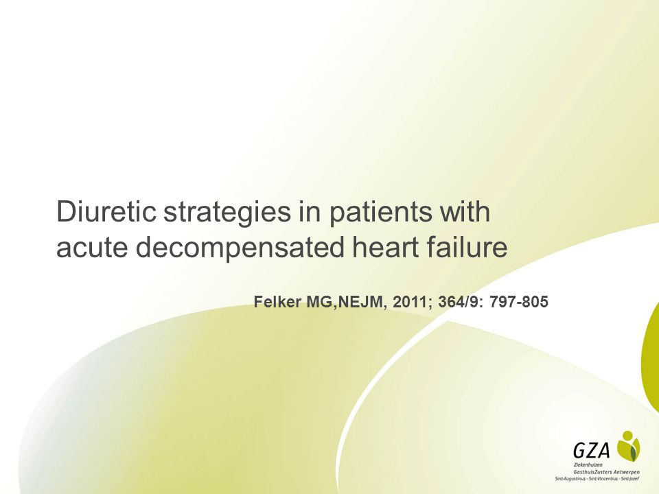 Diuretic strategies in patients with acute decompensated heart failure