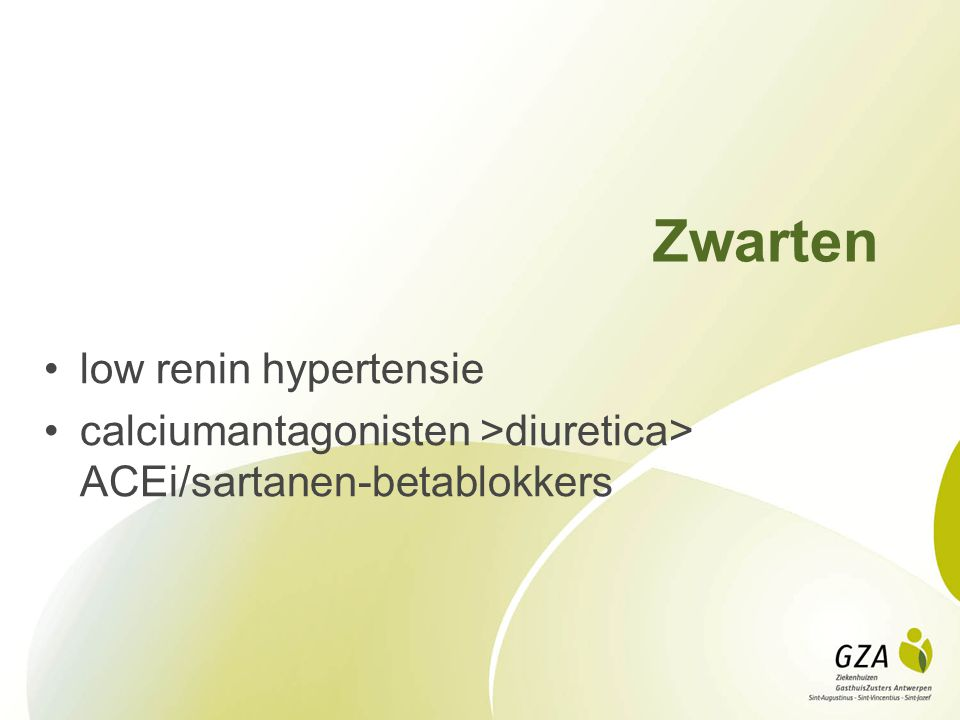 Zwarten low renin hypertensie