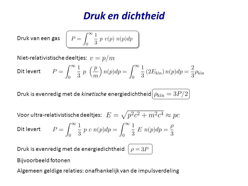 Druk en dichtheid Druk van een gas Niet-relativistische deeltjes: