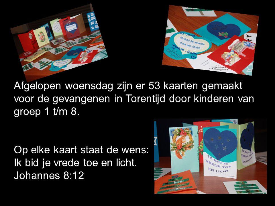Afgelopen woensdag zijn er 53 kaarten gemaakt voor de gevangenen in Torentijd door kinderen van groep 1 t/m 8.