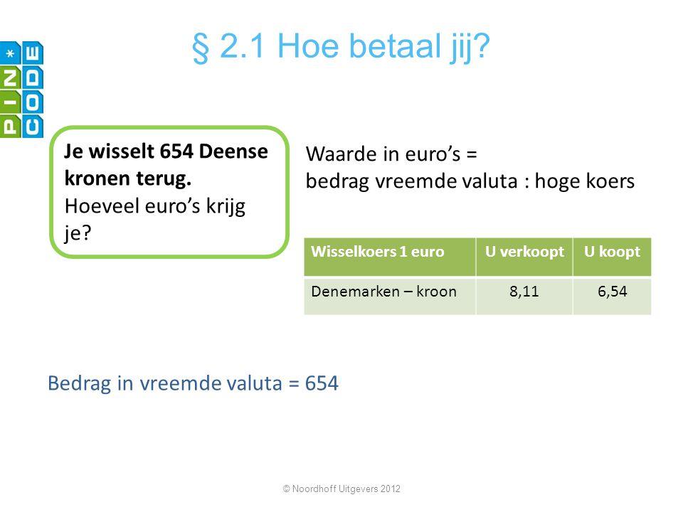 § 2.1 Hoe betaal jij Je wisselt 654 Deense kronen terug.