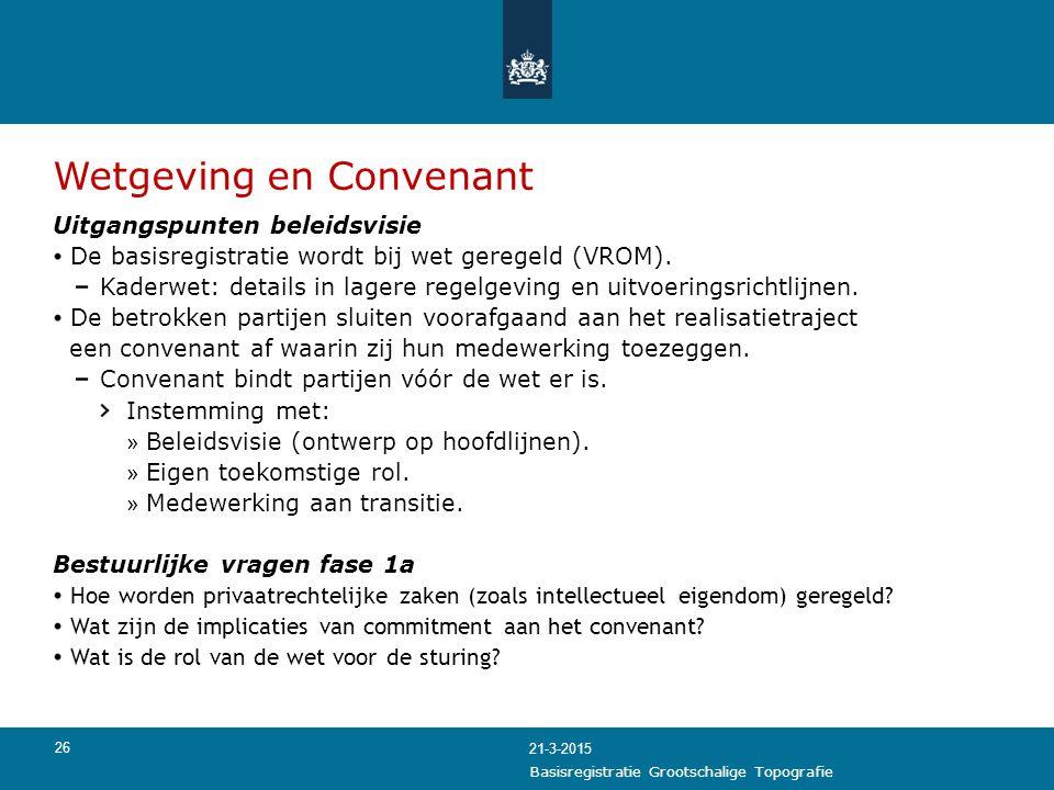 Wetgeving en Convenant