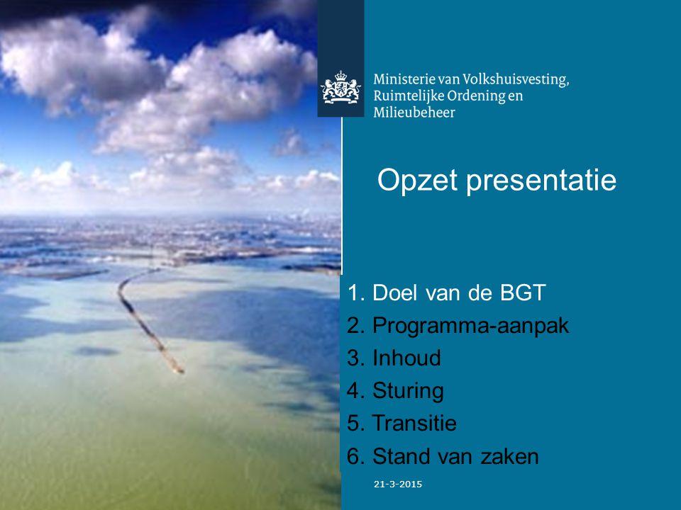Opzet presentatie Doel van de BGT Programma-aanpak Inhoud Sturing