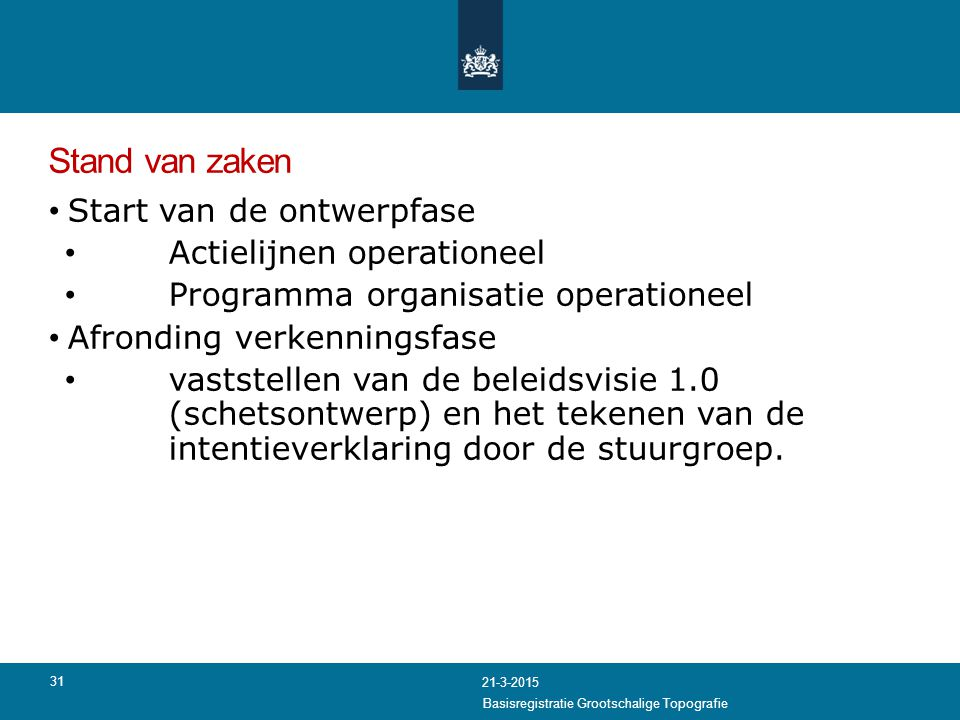 Stand van zaken Start van de ontwerpfase Actielijnen operationeel