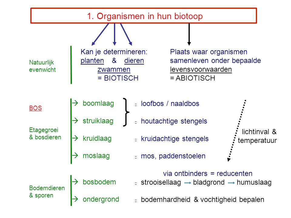 1. Organismen in hun biotoop