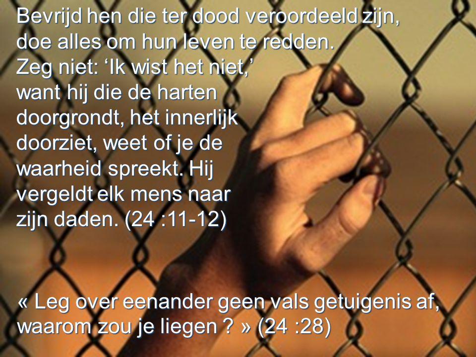 Bevrijd hen die ter dood veroordeeld zijn, doe alles om hun leven te redden.