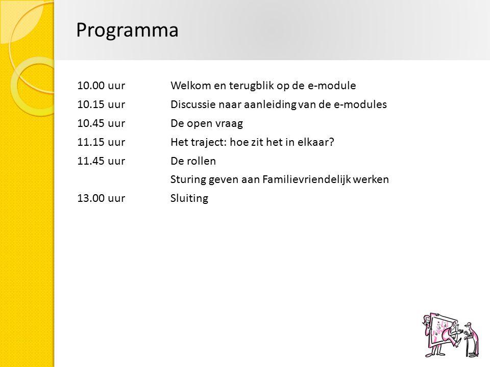 Programma 10.00 uur Welkom en terugblik op de e-module