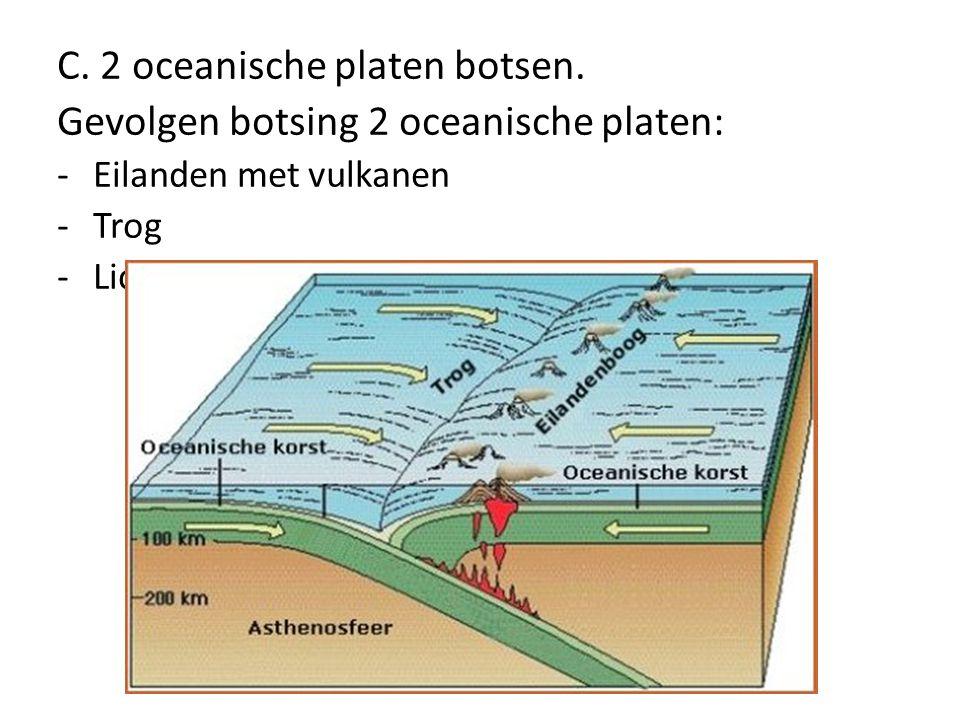 C. 2 oceanische platen botsen. Gevolgen botsing 2 oceanische platen: